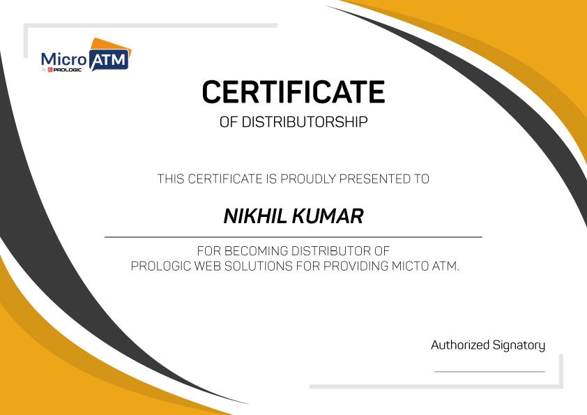 Micro ATM Distributorship Certificate